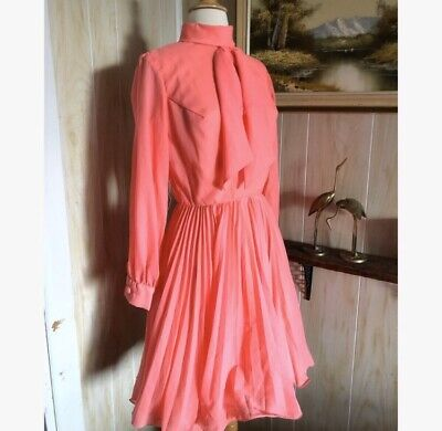 1970's Vintage Neon Pink Western Square Dance Wide Twirl Dress Size Small • 38$