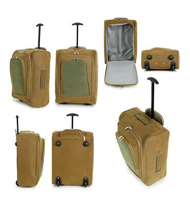 49x35x20cm COMPASS Tan/Olive Suitcase Cabin Trolley Carry On Hand Luggage BNWT • 16.99£