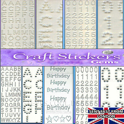 Small Alphabet / Numbers Letters Stickers Pearl Bead Card Craft Embellishments • 2.20£