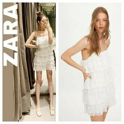 Zara Nwt Embroidered Ruffled Tiered Spaghetti Straps A-line Dress 5107/300 • 39.90$
