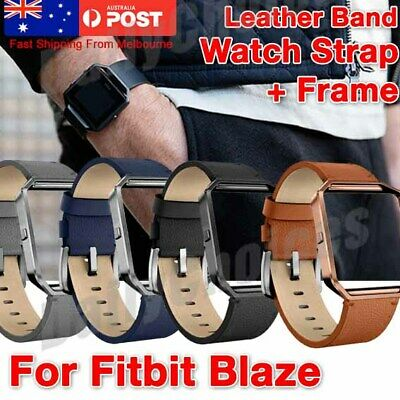 AU12.27 • Buy Watch Strap For Fitbit Blaze Band With Frame Leather Replacement Link Wristband