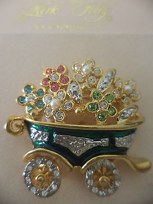 KIRKS FOLLY Flower Cart Pin Goldtone NEW WITH TAGS • 33.99$