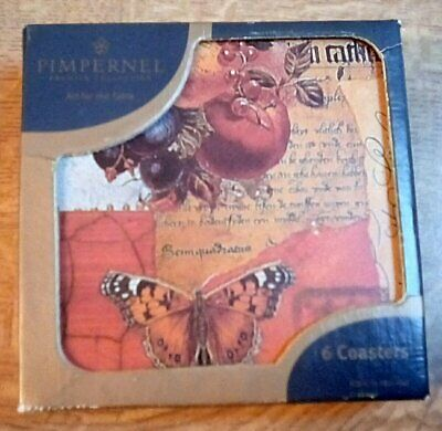 Pimpernel Natural Collage Coasters X 6 Boxed Floral Butterflies • 7.99£
