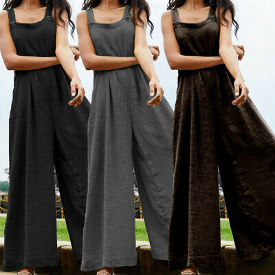 AU16.06 • Buy Women Loose Plus Size Overalls Jumpsuit Strappy Dungaree Beach Wide Leg Playsuit