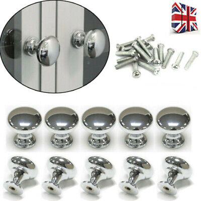 1-30Pcs Chrome Metal Door Knobs Drawer Wardrobe Kitchen Cupboard Handles Round • 5.31£