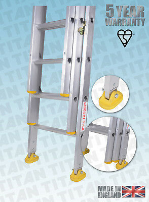 Titan Aluminium Classic Trade Ladders - With Fitted Swivel Feet - Double, Triple • 39£