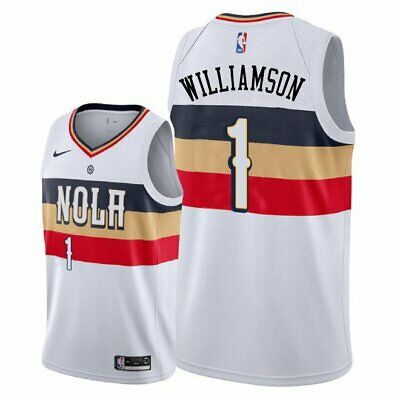 Zion Williamson #1 New Orleans Pelicans White W/ NOLA Black,yellow, Red Jersey • 54.99$