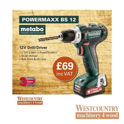 Metabo PowerMaxx BS 12 Drill/Driver, 1 X 12V 2.0Ah, SC30 Charger, Carton • 74.95£