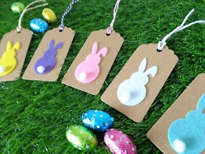 Easter Gift Tags Cute 3D BUNNY Kraft Paper Card Labels 9x4cm Gift Wrapping • 2.35£