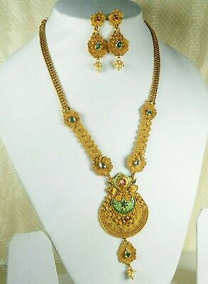 Indian Gold Plated Bridal Long Necklace Earrings Traditional Jewelry Set   • 18.98$