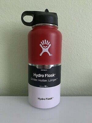 Hydro Flask Graphite Wide Mouth 32oz Flex Cap  Red & White Steel Flask Bottle • 45$