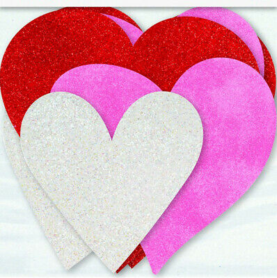 £2.99 • Buy 6 X Valentines Glitter Hearts Cutout Decorations Pink Red White Heart Decoration