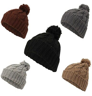 £3.95 • Buy  Bobble Hat Cable Knit Warm Winter Snow Ski Beanie Wool Ladies Womens Girls NEW