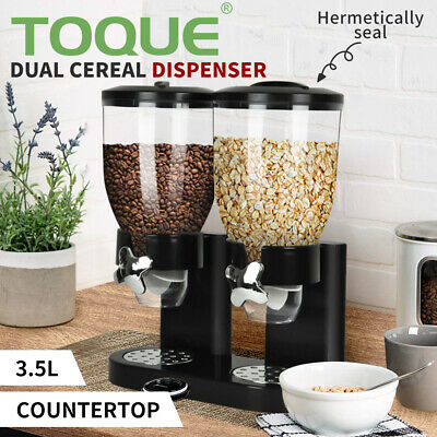 AU33.99 • Buy Double Cereal Dispenser Dry Food Storage Container Dispense Machine Black