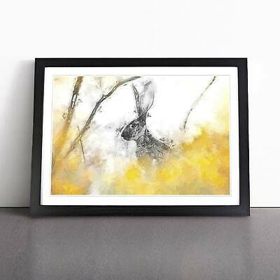Alert Hare In The Meadow In Abstract Flowers Framed Picture Print Wall Art • 12.95£
