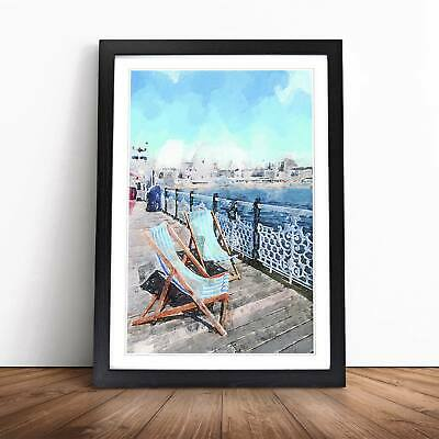 £26.95 • Buy Upon Brighton Beach Pier In Abstract Seascape Framed Picture Print Wall Art