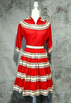 Desert Flowers Originals Square Dance Top Skirt Full Sweep Red Silver Size XS  • 74.97$