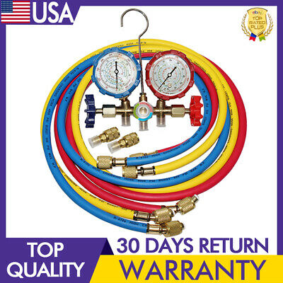 $32.73 • Buy 59 In R-410A Dual Manifold Diagnostic Gauges 3-Colors Coded Charging Hoses HVAC