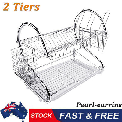 AU22.99 • Buy Kitchen 2-Tier Dish Drainer Rack Plate Bowl Cutlery Sink Tool Holder Dry Stand P