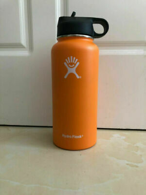 Hi 32oz Hydro Flask Stainless Steel Insulation Wide Mouth Straw Orange • 0.01$