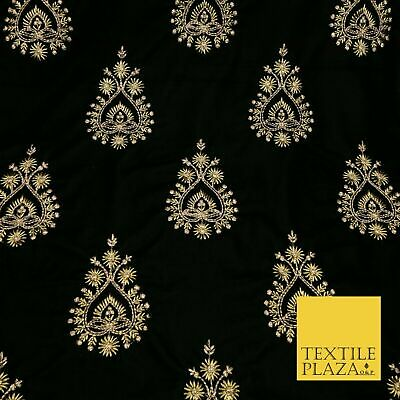 BLACK Ornamental Teardrop Cluster Gold Embroidered Velvet Dress Fabric 1771 • 22.99£