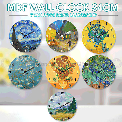 AU15.95 • Buy MDF Round Wall Clock 34cm Van Gogh Hanging Art Battery Home Decor Gift Boxed AU
