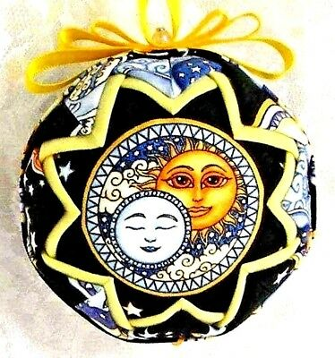 Gold Celestial Mythical Moons Quilted Ball Christmas Ornament Hand Made New B27 • 15.99$