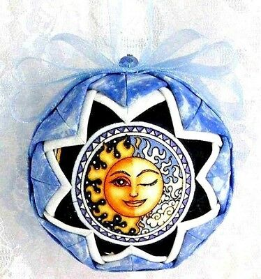 Quilted Ball Christmas Ornament Celestial Mythical Moon Glittered New Gift B27 • 16.99$