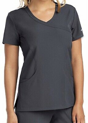 $14.99 • Buy NWT Skechers By Barco 3 Pocket Mock Wrap Reliance Scrub Top Pewter Size S SK102