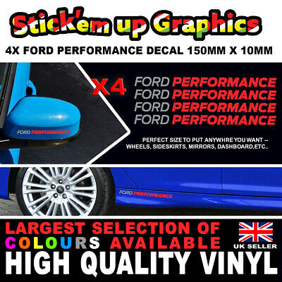 4 X FORD PERFORMANCE RACING 150mm X 10mm Decal Sticker Detail Wheel Dash Boot ST • 4.89£