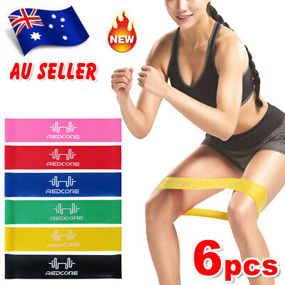 AU8.85 • Buy 6pcs Resistance Loop Bands Crossfit Strength Trainin Fitness Exercise Band