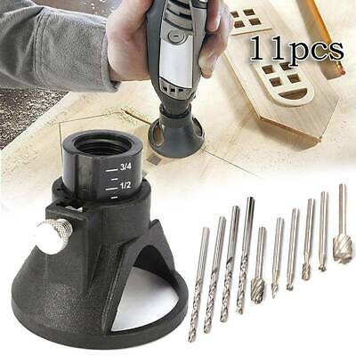 11Pcs Dremel Router Attachment Rotary Multi Tool Cutting Guide Kit HSS Drill Bit • 6.07£