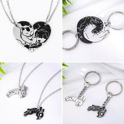 AU6.99 • Buy Stainless Steel Yin & Yang Cat Dog Otter Rabbit Necklace Keychain Couples Gift