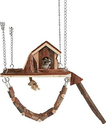 Natural Wood Janne Playground Suspension Bridge House Ladder Hamster Gerbil Mice • 16.49£