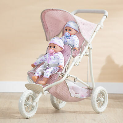 £49.99 • Buy Olivia's Little World Double Twin Baby Doll Stroller Pushchair Pink OL-00004