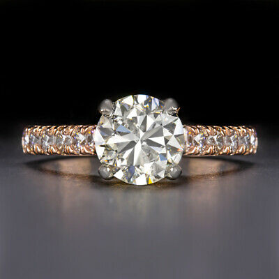 $ CDN7111.69 • Buy 2.6ct Ideal Cut 2 Carat Round Natural Diamond Engagement Ring Rose Gold Pave 2ct