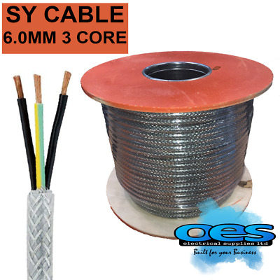 Sy 6.0mm 3 Core Steel Braided Multicore Control Flexible Cable Sold Per Metre • 2.75£