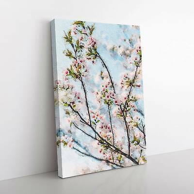 Cherry Blossom Tree In Abstract Flowers Floral Framed Canvas Print Wall Art • 22.95£