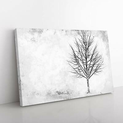 Lone Tree At Winter Flowers Landscape Nature Framed Canvas Print Wall Art • 24.95£