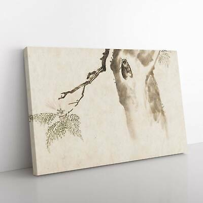 Moth Upon A Tree Flowers Asian Kawanabe Kyosai Framed Canvas Print Wall Art • 19.95£