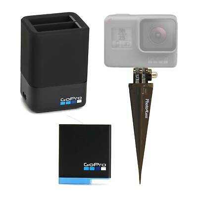 $ CDN87.42 • Buy GoPro Dual Lithium-Ion Battery Charger + 2 Batteries + Spike For HERO8/7/6 Black