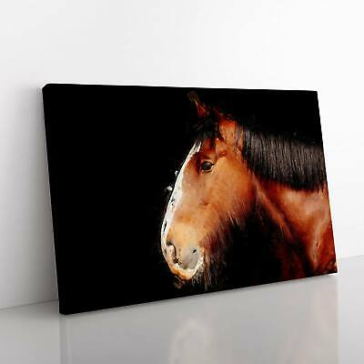 Brown Shire Horse In Abstract Canvas Print Wall Art Picture Large Home Decor • 19.95£
