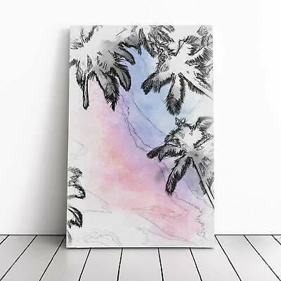 Palm Tree Paradise In Abstract Flowers Picture Framed Canvas Print Wall Art • 22.95£
