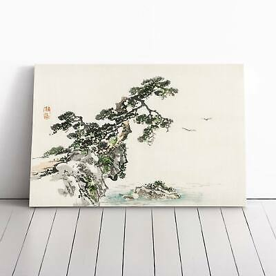 Tree Upon A Cliff Landscape Asian Bird Kono Bairei Framed Canvas Print Wall Art • 19.95£