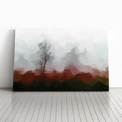 Tree Fog In Switzerland In Abstract Landscape Framed Canvas Print Wall Art • 22.95£