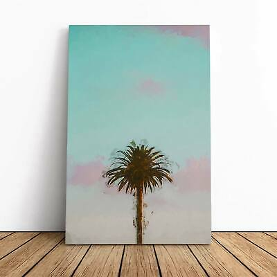 Sunset Palm Tree In Abstract Flowers Picture Framed Canvas Print Wall Art • 22.95£