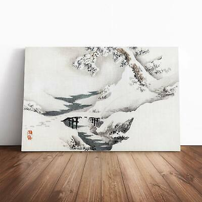 Snow Covered Bridge And Tree Asian Kono Bairei Framed Canvas Print Wall Art • 19.95£