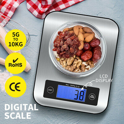 AU23.99 • Buy 10kg/1g Kitchen Digital Scale LCD Electronic Balance Food Weight Postal Scales