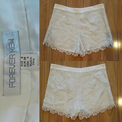 AU18 • Buy FOREVER NEW White & Metallic Silver Lace Shorts - SIZE 8