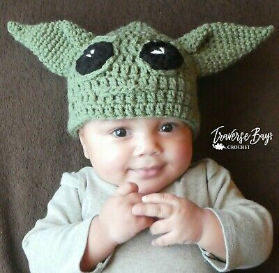 $6.99 • Buy Baby Yoda Crochet Hat 5 Sizes Newborn Baby Toddler Child Adult PATTERN ONLY